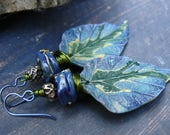 RESERVED FOR ANNE G. Dryads - wearable art polymer clay blue green gold lampwork rustic leaf earrings.