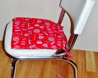 50s Diner Chair in Ivory with Red Coke Cola Chair Pad