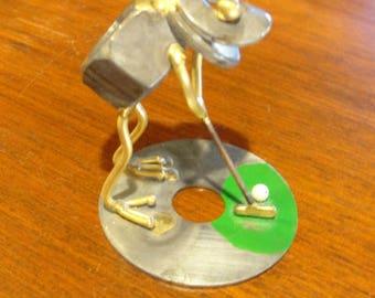 Metal Sculpture Hardware Art Golfing Frog Putting on the Green Frog Art Piece
