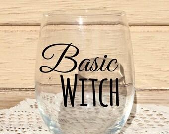 Basic witch wine glass, stemless wine glass, wine glass