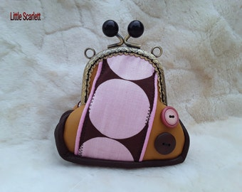 Retro wallet Leather Brown and camel and pink pea motif fabrics
