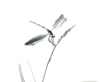 "Digital Download ""Dragonfly zen"", Ink Brush, Ink Drawing, Asian art, Wall art, Minimalist, Japanese Art, Sumi-e, gift for her, for him, dorm"