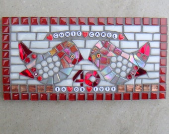Ruby Wedding Anniversary Gift, Wall Plaque, 40th, Love Birds Mosaic, Personalised gift, couples, plaque, Red, joint gift, name date, bespoke