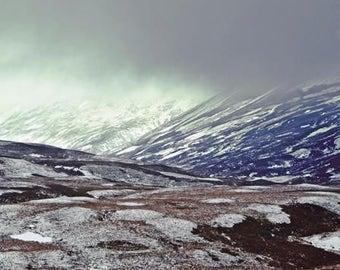 Mountain Photography, Mountain Art Print, Abstract Landscape, Large Photography, Scottish Fog, Winter Snow, Mountain Wall Art