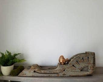 Antique Wood Corbel  Farmhouse Chippy Paint