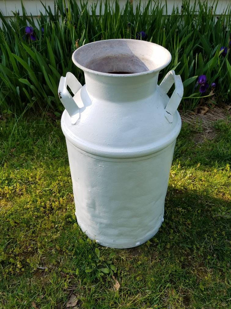 Antique White Milk Can No Lid Farmhouse