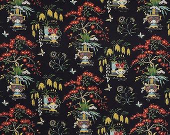 SCHUMACHER CHINOISERIEMING Vases Toile Fabric 10 Yards Black Green Multi