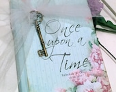 Aqua Blue and pink peonies - Once Upon a Time Fairy Tale wedding guest book, vintage sign-in book