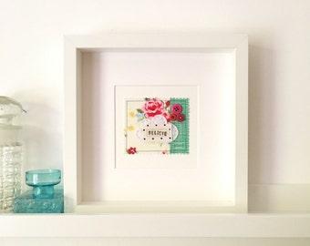 Button art vintage floral - cute cloud wall art 'BELIEVE' - floral button art - modern embroidery - patchwork wall art - nursery decor