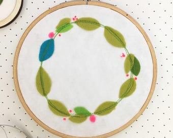 modern embroidery hoop art - spring wreath embroidery - neon pink flowers - new home gift - textile wall art - embroidered picture