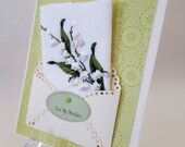Mother's Day Vintage Lily Of The Valley Embroidered Handkerchief Birthday Green White Keepsake Gift Happy Tears Hanky Cards