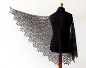 Black shawl - Hand knit linen shawl - femine lace shawl