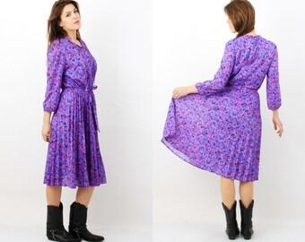Vintage Jersey Ilany Dress / Purple Dress / Flared dress / Jersey dress / Midi Dress / Midi Sleeve Dress / Large Dress / 80s Dress