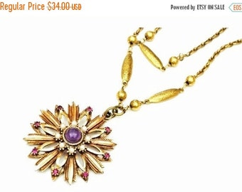 Flower Pendant necklace - purple amethyst glass  cabochon - pearl gold tone- floral signed Hms Maderira Creation