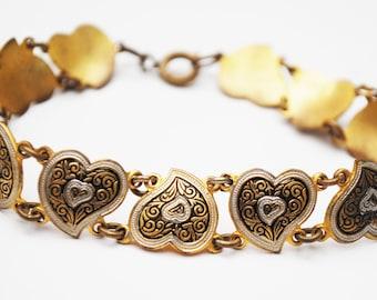 Damascene Heart Link Bracelet - Golden brass  Black fwhite enamel -  bangle