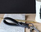 short leather lanyard black, keychain handmade leather lanyards for men, gift for boys