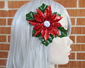 Christmas Hair Clip, Holiday Hair Clip, Holiday Hair Piece, Christmas Fascinator, Festive Wear, Poinsettia Clip, Holiday Party, SantaCon