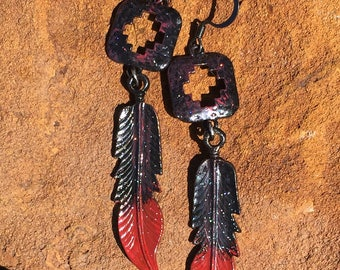 Red and Black Boho/Western Hand Painted Earrings