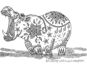 Digital Download Hippo Coloring Page - Adult Colouring - Hippo Art
