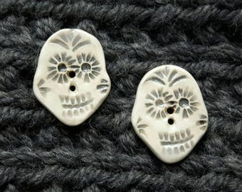 Pair of Sugar Skull Buttons -black and white pottery button