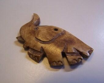 Antique Primitive Carved Bone Button, Bead, Pendant Elephant Shape