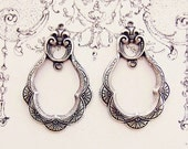 Antiqued Silver Ox Victorian Art Deco Ornate Earring Drops Scalloped Dangles 2 Rings - 4