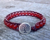 carnelian beaded leather wrap bracelet with tree red orange for sacral chakra unisex for men and women