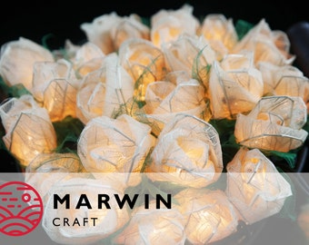 35 White Romantic Rose Flower Fairy String Lights Party Patio Wedding Floor Table Hanging Gift for her Home Living Bedroom Floral Decor 3.5m