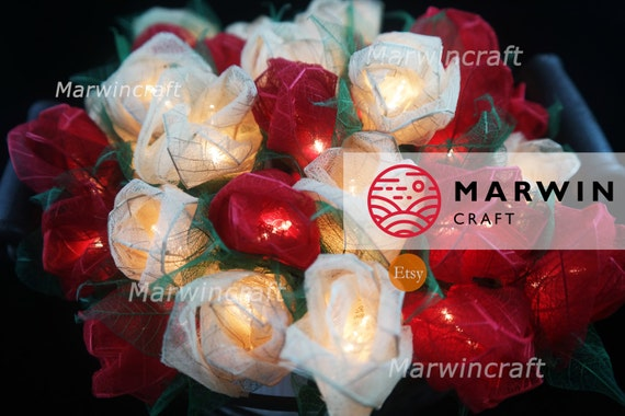 35 Mix White Red Rose Flower Fairy String Lights Wedding Party Floral Decor Floral Party Patio Wedding Floor Hanging Gift Home Decor 3.5m