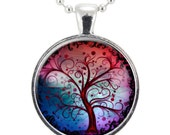 Tree Of Life Necklace, Gifts For Her, Mothers Day Gift, Pink And Blue Necklace (0370S25MMBC)