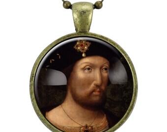 Henry VIII Tudor  Necklace, Portrait Pendant, Bronze (0538B25MMBC)