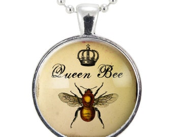 Queen Bee Necklace, Royal Crown Insect Art Pendant, Bee Jewelry (0850S25MMBC)