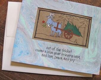 Out of the Thicket -- ORIGINAL hand-drawn holiday card, blank inside, haiku, suminagashi (#HLDY003)