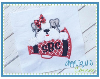 INSTANT DOWNLOAD Bulldog Girl on Megaphone applique digital design for embroidery machine by Applique Corner