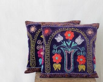Uzbek suzani pillow, 18x18, SET OF TWO, couch pillow, silk cotton, navy velour pillow case, velvet cushion cover, floral needlework pillow
