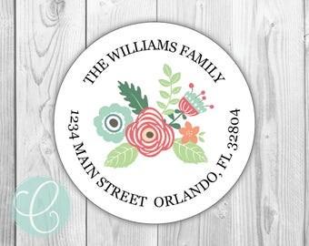 "Vintage Floral -  Return Address Labels - 2"" Round Stickers - Glossy or Matte - Flowers Pink Green Women Girls Retro Feminine Family"