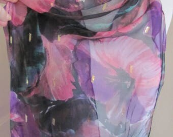 "Black Pink Floral Sheer Soft Poly Scarf 14"" x 64"" Long"