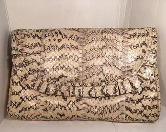 Vintage Mary Ann Rosenfeld Snake Skin Python Clutch Covertible Handbag