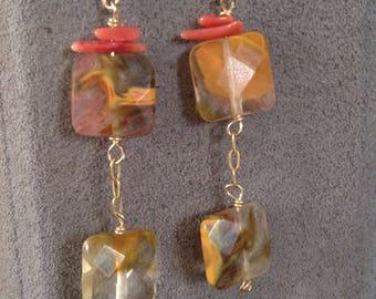 Vintage Gemstone Dangle Earrings, Agate & Red Coral, Gold Tone Drop Earrings