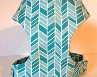 """Herringbone - Turquoise & Teal Soft Dog Harness """"Sea Glass"""" - Soft on Your Dogs Skin - Avail"""
