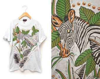 90s Zebra T-shirt Embellished Women's Size XL OSFM Gray