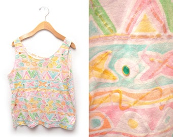 90s Pastel Embellished Tank Top Womens Large Puff Paint Rhinestones