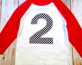 2 Race Car birthday shirt  cars Checkered Flag Boys Birthday Shirt 3 on a Red White Raglan 1st, 2nd, 3rd, 4th, 5th black and white checker