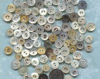 Group of 95 Small Vintage White Mother of Pearl Buttons-Item#357