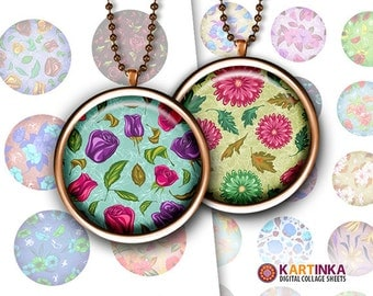 1 inch (25mm) 1.5 inch Printable FLORAL PATTERNS V5 Digital Images for Bottle caps Pendants Jewelry Mountings cameo setting Round bezel cab