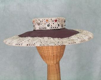 1950s Hat Big Brim Vintage 1950s Hat Bead and straw Crown