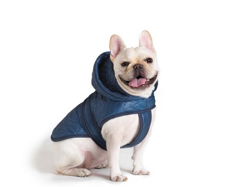 Quilted Nylon Puffer Jacket with Shearling Lining - Blue, Pet Apparel, Dog Jacket
