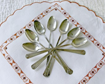Vintage Aladdin Silver Plate Iced Tea Spoons, Long-Handled Spoons, Set of 7