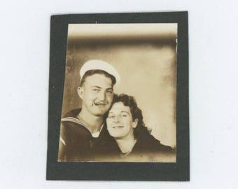 Vintage PhotoBooth Arcade Photo, c1940s: Cigar Smoking Sailor & His Gal (74567)