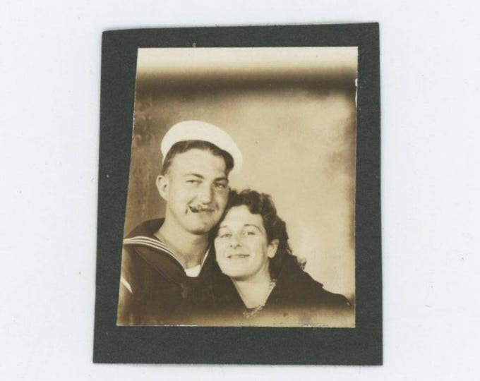 Vintage PhotoBooth Arcade Photo, c1940s: Cigar Smoking Sailor & His Gal (74567)